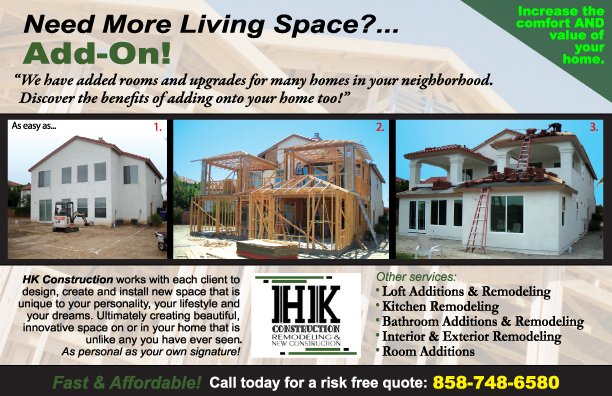 Best Local Honest Contractors in San Diego for Room Additions and New Constuction.